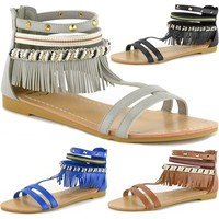 Alpine Swiss Womens Fringe Sandals Beaded & Studded Gladiator Strappy Ankle Flat