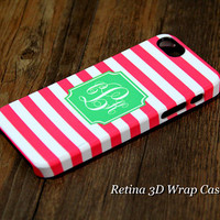 Pink Stripes Custom Monogram 3D-Wrap iPhone 5S Case iPhone 5 Case iPhone 5C Case iPhone 4S Case iPhone 4 Case