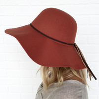 Getting Heated Wool Floppy Hat In Rust