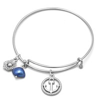 Expandable Anchor Charm Bangle Bracelet