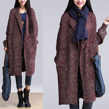 Women plus size sweater coat wool coat winter coat