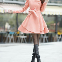 Pink Long  Dress Spring Trench Coats Wool Cape Coat Skirt Spring Cape Jacket-WH073 M,L,XL,XXL