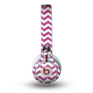 The Dark Pink & White Chevron Pattern V2 Skin for the Beats by Dre Mixr Headphones