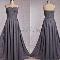 Long  Gray Swwtheart Bridesmaid Dersses,Long A Line Chiffon Party Dresses,Homecoming Dresses,Formal Party Dresses