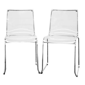 Baxton Studio Lino Transparent Clear Acrylic Dining Chair Set of 4