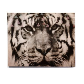 "Suzanne Carter ""Tiger Face"" Gray Animal Birchwood Wall Art"