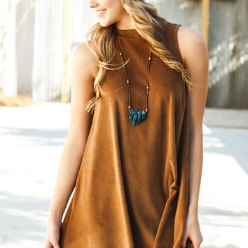 Shots of Mocha Mock Neck Corduroy Dress