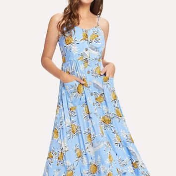 Pineapple and Tropical Print Button Up Cami Dress