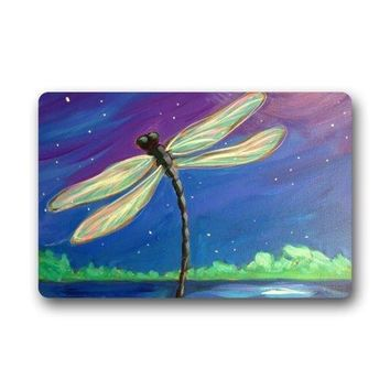 Autumn Fall welcome door mat doormat Art Dragonfly Under the Beautiful Night Sky Non-slip ,Floor Mat  Rug Indoor/Outdoor/Front Door/Bedroom Mats AT_76_7