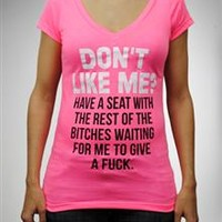 """""""Don't Like Me?...."""" Lace Laser Back V-Neck Junior Fitted Tee"""