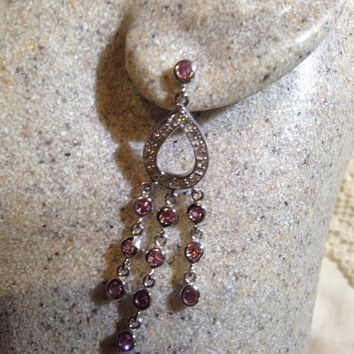 Vintage Handmade sterling silver diamond look Pink Tourmaline Gemstone Chandelier earrings