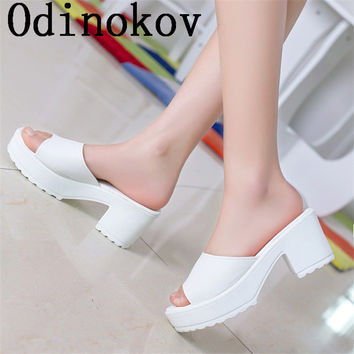 Odinokov Summer 2017 new pu  sandals and slippers women platform sandals shoes wedges platform shoes with comfort in Korea