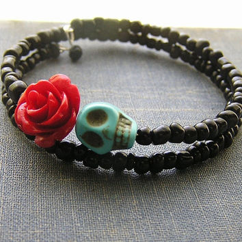 Day of the Dead Bracelet Wrap Around Mini red rose blue skull Black glass E Beads Frida Memory wire