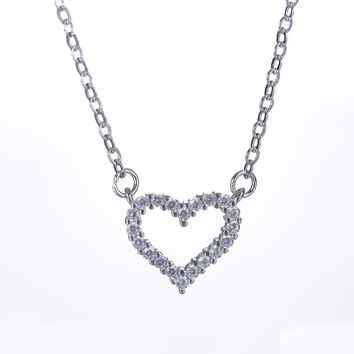 Jewelry Shiny Stylish Gift New Arrival 925 Silver Simple Design Design Diamonds Box Necklace [8026162567]