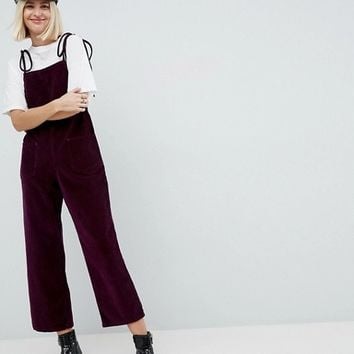 ASOS Cord Jumpsuit in Berry With Tie Strap at asos.com