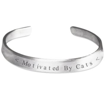 Funny Sayings Cat Bracelet Jewelry for Women Men Stamped Silver Easter Gift 2017 Motivated By Cat Bracelets Motivational Inspirational Cats Kitty Jewelry