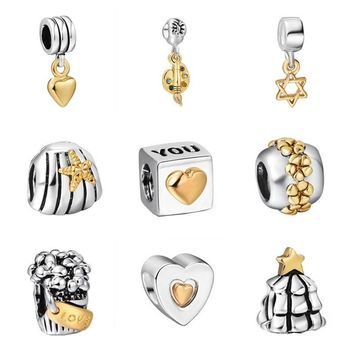 925 Sterling Silver Bead Style Gold Plated European Charm Beads Fit Pandora Style Brac