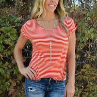 Piper Striped Boyfriend Tee - Red/White