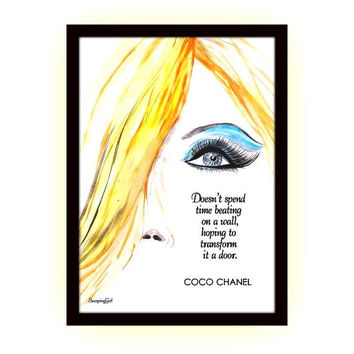Don't spend the time, chanel quote, Watercolor woman face, fashion, beauty, wall decal, decor decals art, sketch, girl, coco, quotes, lashes