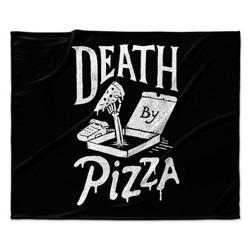 "Tatak Waskitho ""Death By Pizza"" Food Black Fleece Throw Blanket"
