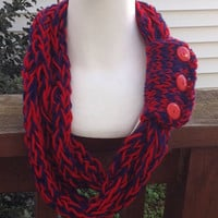 Ole Miss University of Mississippi Arizona Finger Knit Infinity Eternity Circle Necklace Chunky Winter Scarf