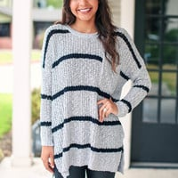 Bold Stripe Sweater - Grey