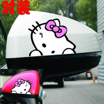 Hello Kitty Car Stickers Cute Lovely Colorful Creative Decals For Rearview Minions Waterproof Auto Tuning Styling 9*8cm D11