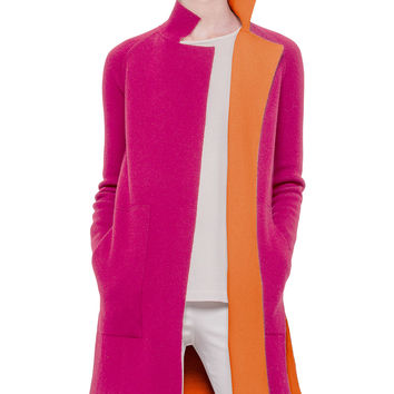 Reversible Long-Sleeve Cashmere Colorblock Coat, Rose/Zinnia