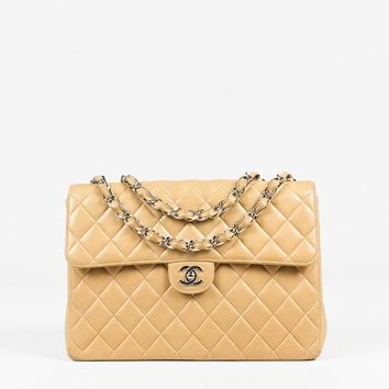 "Chanel Beige Quilted ""Lambskin"" Leather ""Jumbo Single Flap"" Shoulder Bag"