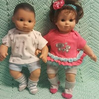 "Twins Baby Doll Clothes Will fit Bitty Baby® ""Koala Pals"" 15 inch Boy Girl Twins Set doll outfits F12"