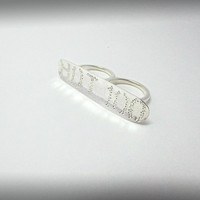 Sterling Silver Two Finger Ring Statement Jewelry Double Ring Personalized Bar Ring  Bold Modern Jewelry