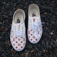 Vans x Supreme x Louis Vuitton Fashion Women Men Casual Flat Shoe Sneaker I-CSXY