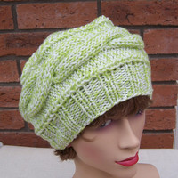 Hand Knitt Hat, Cable Beret, Slouchy Hat, White and Green Hat, Women Beret, UK Seller