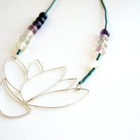 Sterling Silver, Hand Made Big Lotus, Purple Amethyst, Necklace, Modern, Minimalist & Chic Design