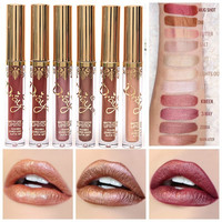 Shimmer Liquid Lipstick Professional Waterproof Matte Lipstick Metal Style Golden Nude Red Lips Batom Brand Makeup
