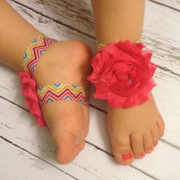 Baby Barefoot Sandals...Chevron Hot Pink Barefoot Sandals..Newborn sandals...Toddler Sandals