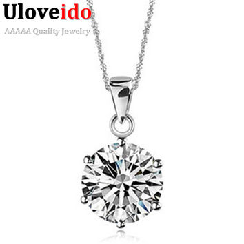 Uloveido Pendants Necklaces CZ Diamond Jewelry Silver Women Pendant Necklace Suspension Collar Pingentes Collares 49% Off N321