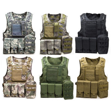 Tactical Vest Wargame Body Molle Armor Vest Army  Jungle Equipment with 7 Colors