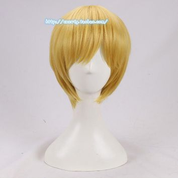 Cool Anime One Piece Cosplay Wig Sanji Blonde Short Straight Men Yellow Synthetic Hair for AdultAT_93_12