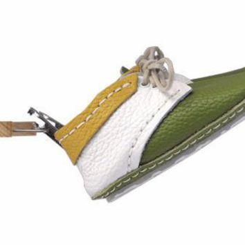 BC QIYIF First Baby Shoes SUSU model - White/Green/Yellow  Made in Poland