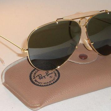 LMFON2D CIRCA 1960's B&L RAY BAN GOLD PLATED BULLET HOLE SHOOTER AVIATOR SUNGLASSES NEW