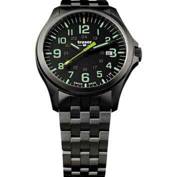 P67 Officer Pro Gunmetal Black / Lime 107869  Men'S Swiss Watch Pvd Coated Steel