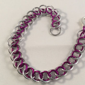Chainmail bracelet, dragontail weave, dragon chainmail bracelet, chainmail jewelry, pink bracelet, gift for her, under 20