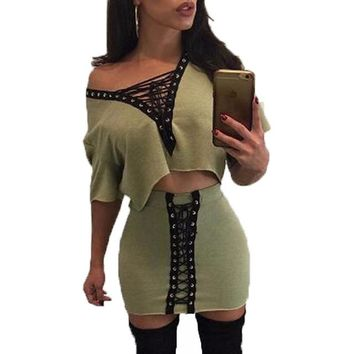 Chic 2 piece lace up style 2 piece crop top skirt set