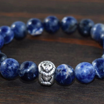 Men's Beaded Bracelet. Men's Sodalite Bracelet. Blue Beaded Bracelet. Lion Bracelet. Men's Christmas Gift. Men's Fashion. Lotus and Lava.