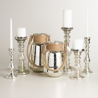Antique Silver Mercury Glass Candleholder Collection