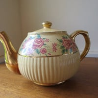 Vintage Roses Tea Pot Yellow Glaze Pottery Gilt Handle/Spout Roses Bouquet 6 Cup Teapot Redware 1930's - 40's Cottage Chic