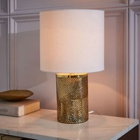 Etched Glass Table Lamp - Brass