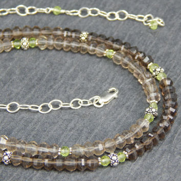 Smoky Quartz necklace, 2 strand necklace, gemstone necklace, ombre necklace, peridot