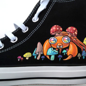 Hand Painted Shoes Custom Converse Psychedelic Mushroom and Paras Glow in the Dark Sparkly Rainbow Laceups Hi Tops Grass Type Bug Type